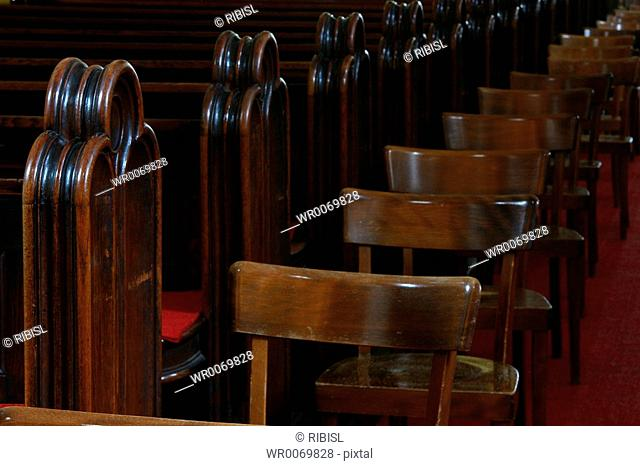 church benches and chairs