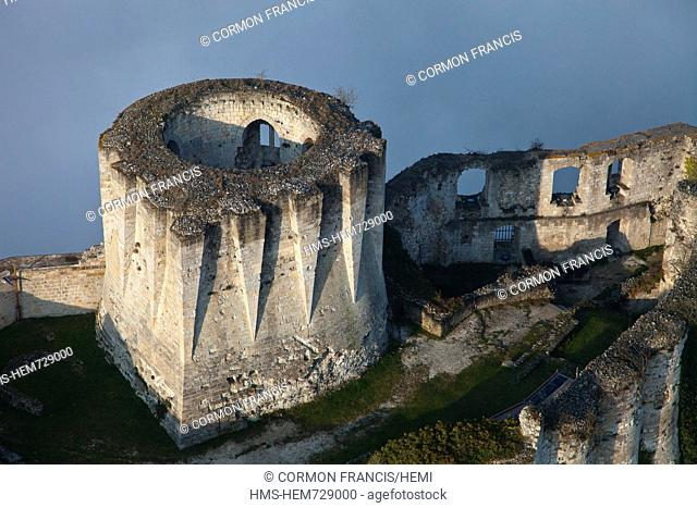 France, Eure, Les Andelys, Chateau Gaillard, 12th century fortress built by Richard Coeur de Lion aerial view