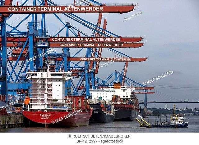 Loading of the container ship Amerdijk, Container Terminal Altenwerder, CTA, Port of Hamburg, Hamburg, Germany