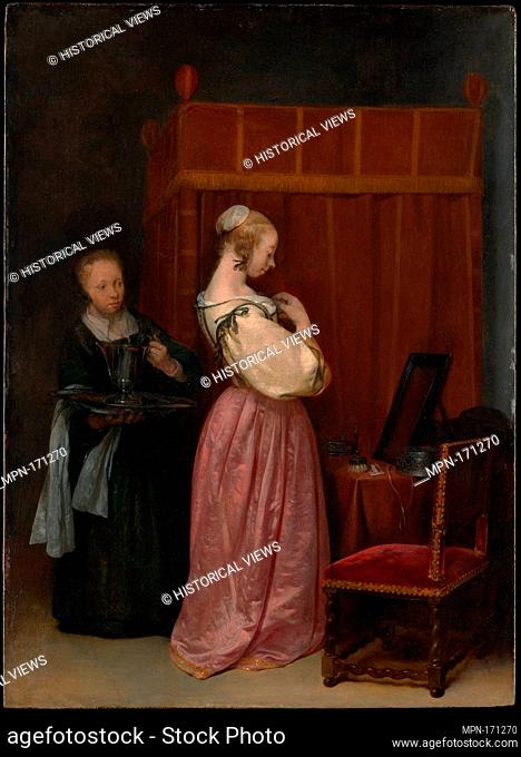 A Young Woman at Her Toilet with a Maid. Artist: Gerard ter Borch the Younger (Dutch, Zwolle 1617-1681 Deventer); Date: ca