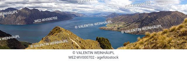 New Zealand, South Island, Queenstown-Lakes-Distrikt, Makarora, Wanaka, Lake Hawea, Panorama