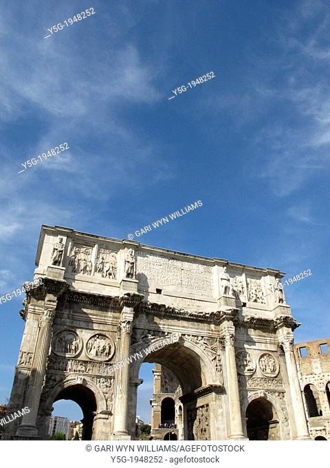 arch of constantine and the colosseum in rome italy
