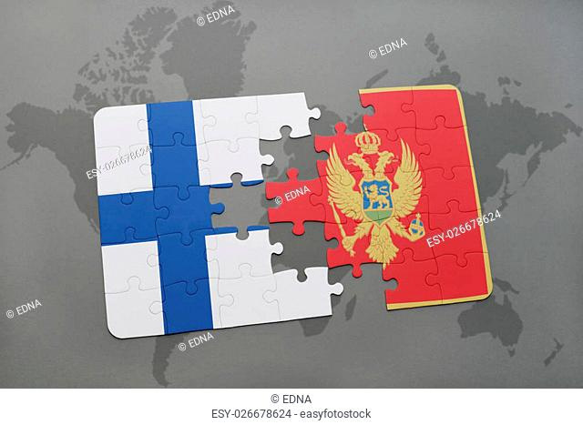 puzzle with the national flag of finland and montenegro on a world map background. 3D illustration