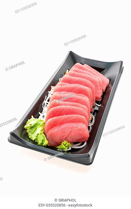 Raw fresh Tuna sashimi fish in black box isolated on white background - Japanese food style
