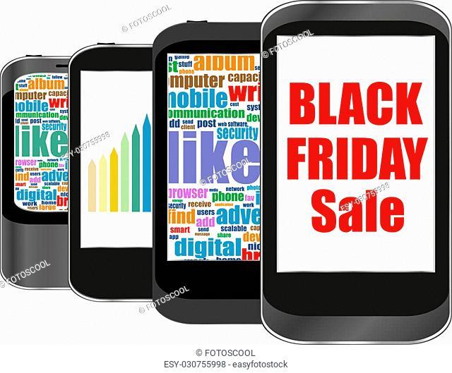 Black friday words on smart phone, Big sale concept. Vector illustration