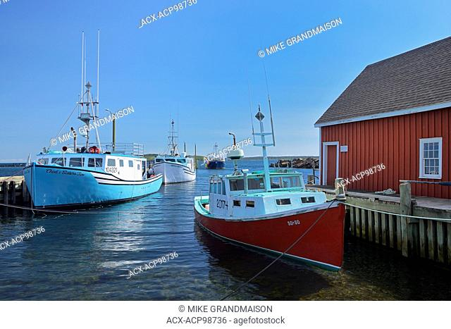 Fishing boats and shed Westport on Brier Island on the Digby Neck Nova Scotia Canada
