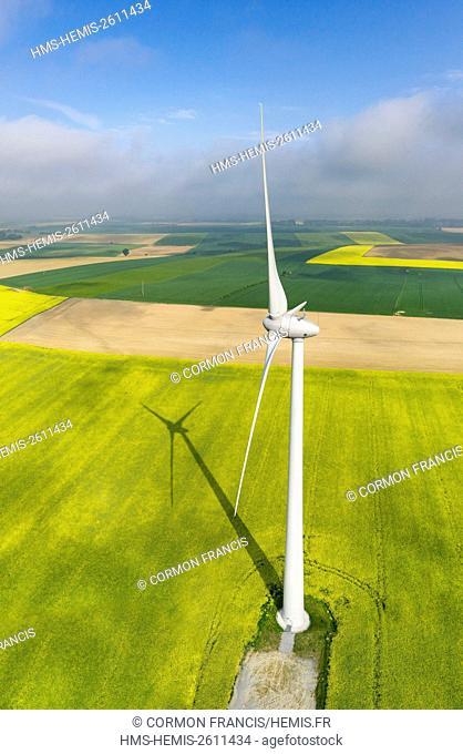 France, Picardie, Somme, Villers Faucon, Montagne Gaillard wind farm (aerial view)
