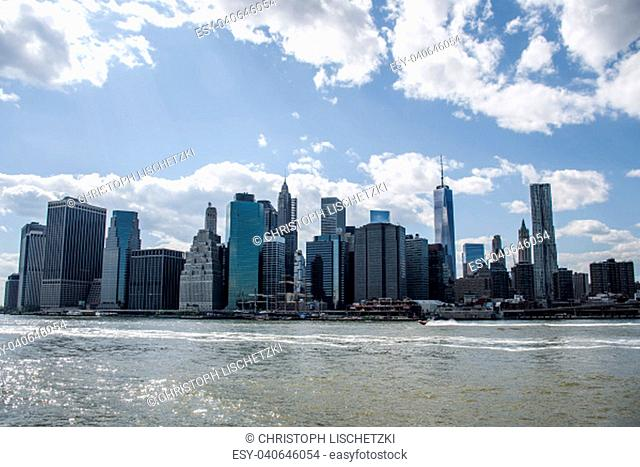 New York City USA Skyline Big Apple at sunny cloud Day