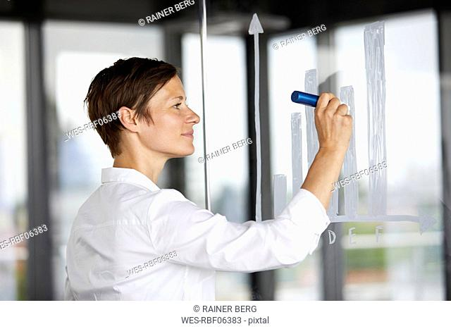 Businesswoman drawing bar chart at glass pane in office