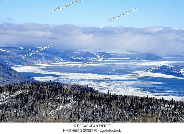 Canada, Quebec province, region of Charlevoix, Petite Riviere Saint Francois, Saint Laurent River seen from the ski slopes of the Massif of Charlevoix