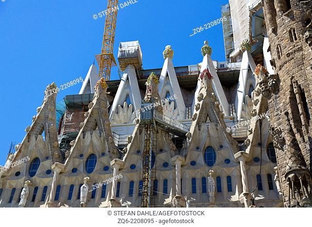 The Bell Tower of the Sagrada Familia in Barcelona, Spain