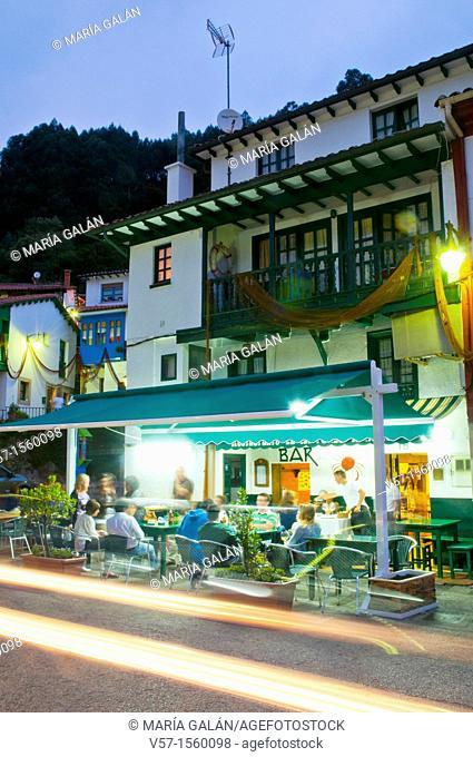 Typical restaurant, night view. Tazones, Asturias province, Spain