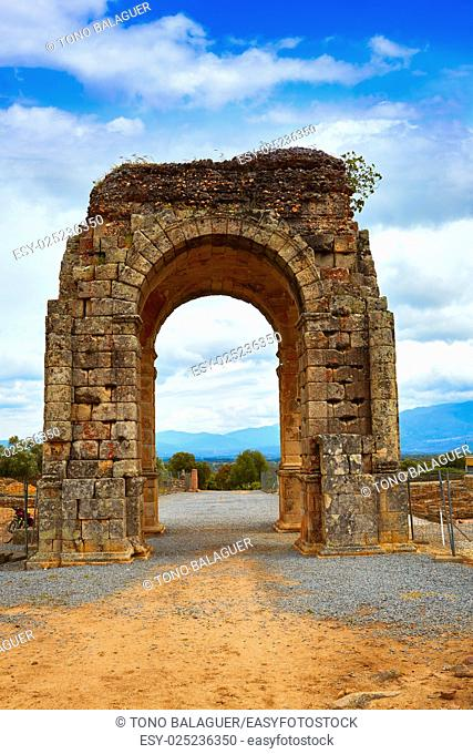 Arch roman of Caparra in Spain Extremadura by the Via de la Plata way