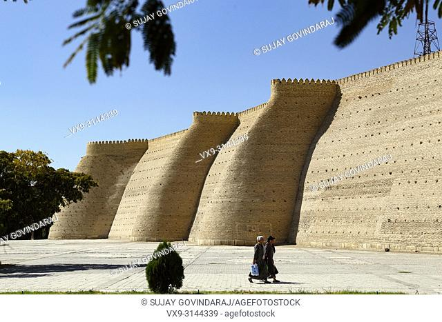 Bukhara, Uzbekistan - August 27, 2016: The Walls of Great Ark Fortress of Bukhara, a renowned heritage site of Silk Road time in Uzbekistan