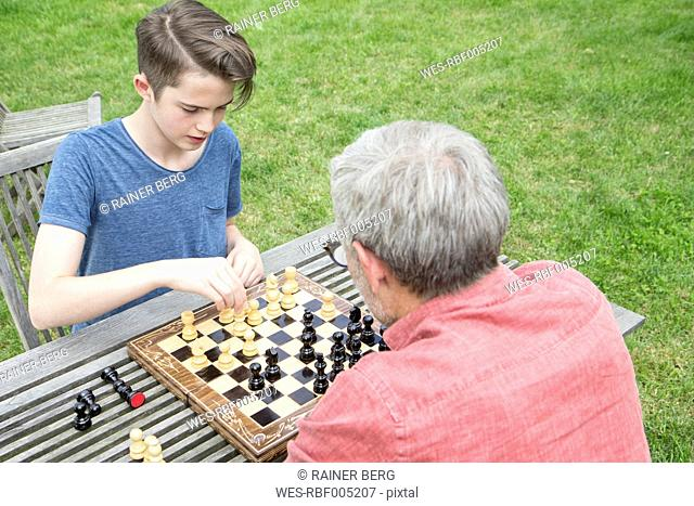 Father and son playing chess in garden