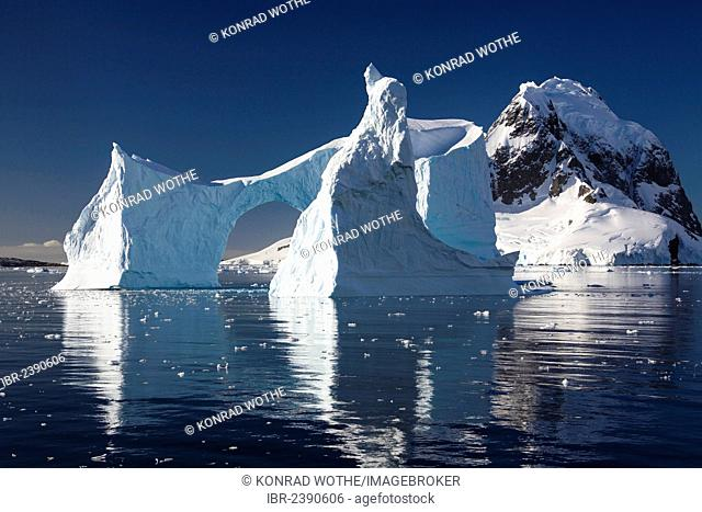 Iceberg archway in Lemaire Channel, Antarctic Peninsula, Antarctica