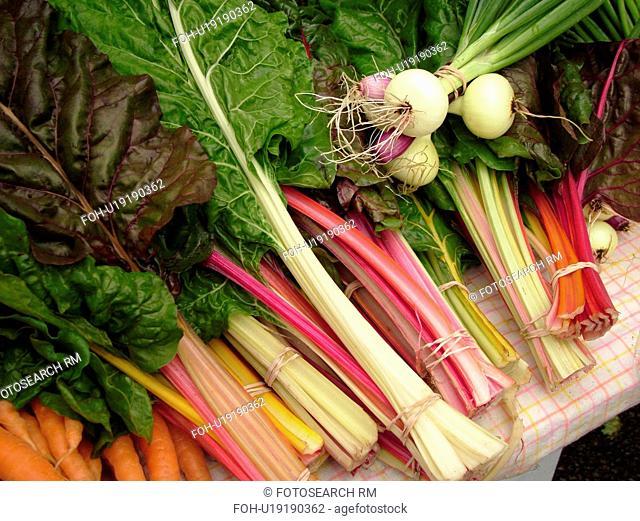 Montpelier, VT, Vermont, Farmer's Market, Rhubarb, Scallions