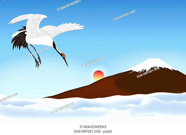 Mt. Fuji with Japanese Crane flying against clear sky