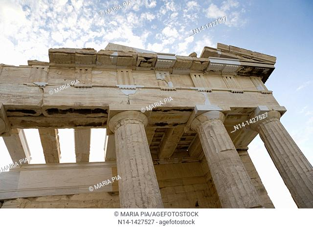 Entrance to the Acropolis, Columns detail, Athens, Greece
