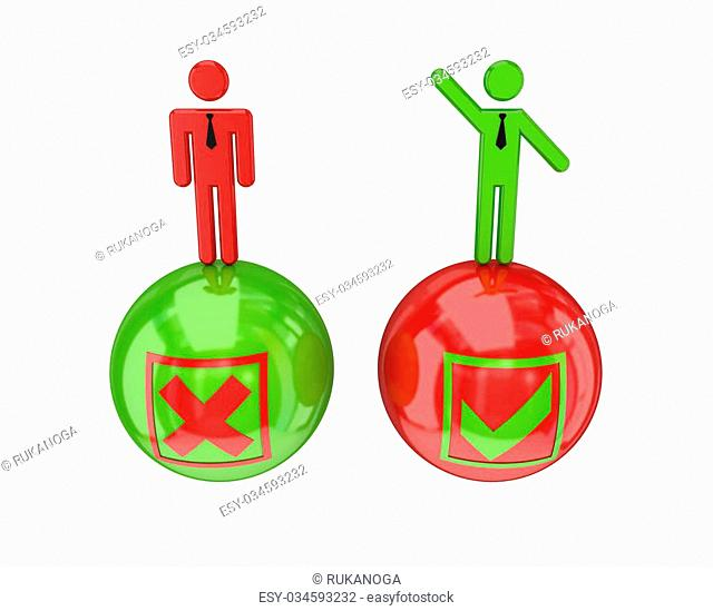 3d small people on a glossy bolls with a negative and positive symbols. 3D rendered. Isolated on white background