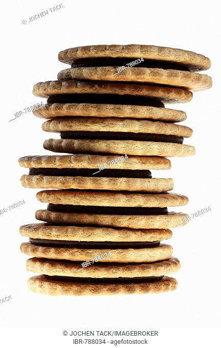 Prinzenrolle cookies filled with chocolate, stacked