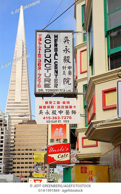 California, San Francisco, Chinatown, ethnic neighborhood, Clay Street, business, sign, Chinese, bilingual, kanji, acupunture center, alternative medicine