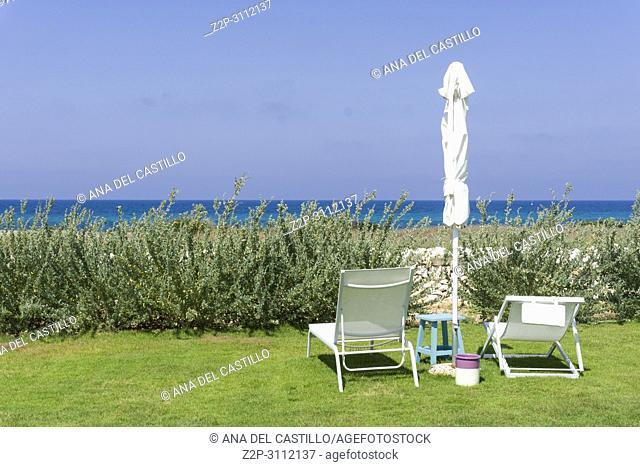 Beach club at Adriatic sea in Guaceto coast Puglia Italy