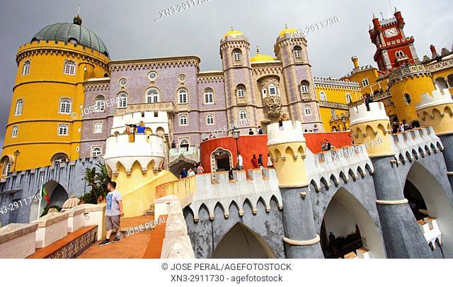 Pena National Palace, Palácio da Pena, castle in São Pedro de Penaferrim, Sintra, Portugal, Europe