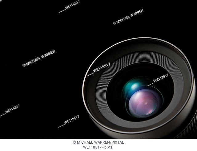 Graphic depiction of a lens on a black background