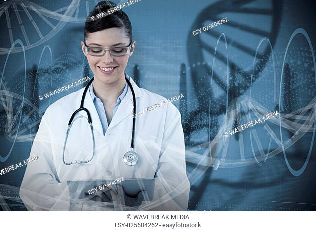 Composite image of beautiful female doctor using digital tablet