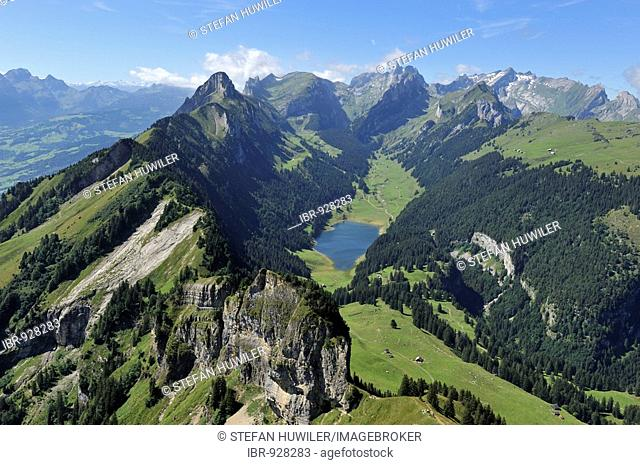View from Mt Hoher Kasten in the direction of Saemtiersee Lake and Saentis, Appenzell, Switzerland, Europe