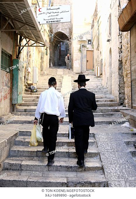 Jewish men near the Western wailing wall in Jerusalem