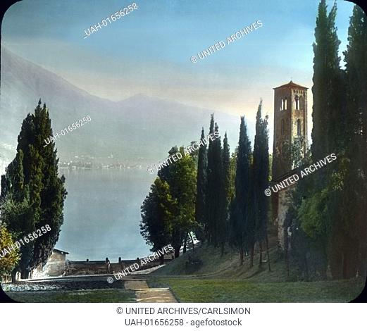 Cypress pathway along the shore of the Lake Como in Northern Italy. Image date: circa 1910. Carl Simon Archive