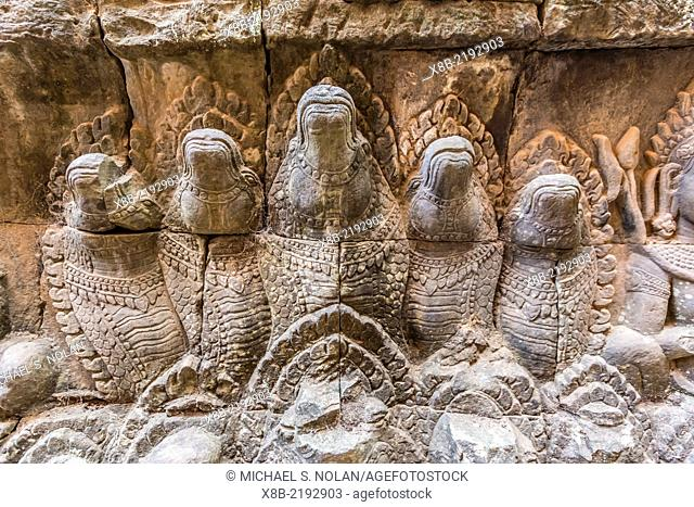 Apsara carvings in the Leper King Terrace in Angkor Thom, Angkor Wat, Siem Reap Province, Cambodia (Khmer)