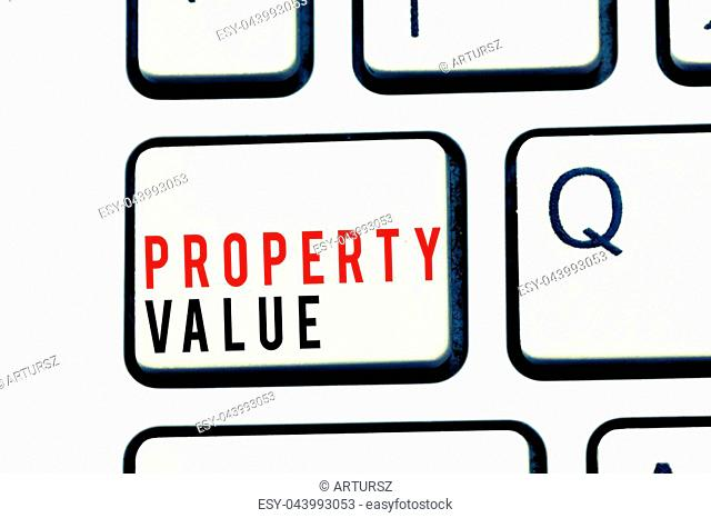 Writing note showing Property Value. Business photo showcasing Worth of a land Real estate appraisal Fair market price