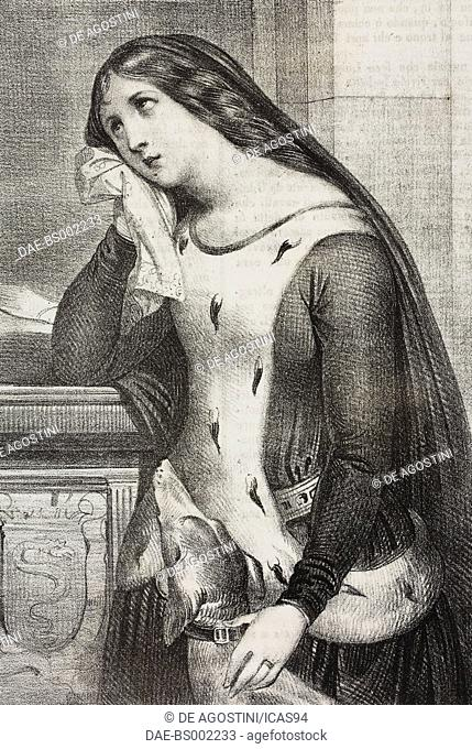 Portrait of Valentina Visconti (1371 -1408), daughter of Gian Galeazzo Visconti and Duchess consort of Orleans as the wife of Louis de Valois-Orleans