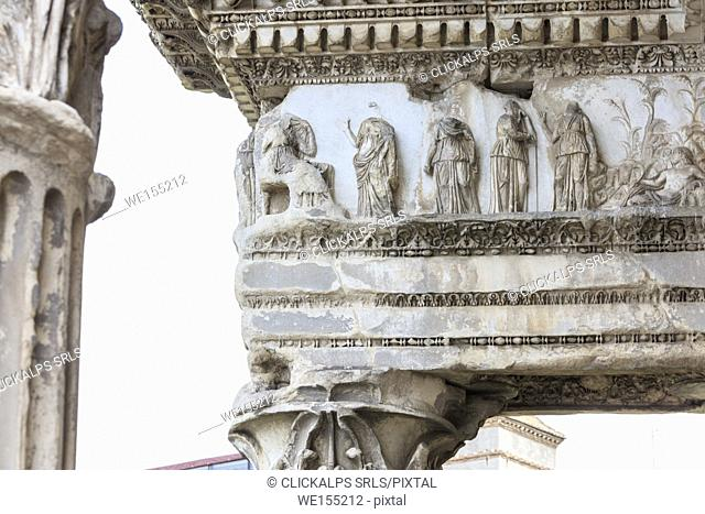 Details of the decorations and statues on the Trajan Forum a symbol of the ancient Roman Empire Rome Lazio Italy Europe