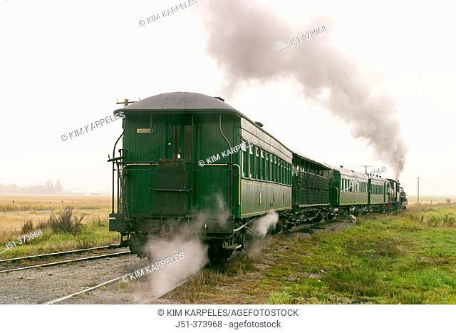 Kingston Flyer passenger steam train runs between Kingston and Fairlight, caboose. Fairlight. New Zealand