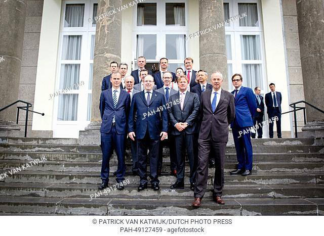 Prince Albert of Monaco (C) visits Pavilion De Witte for a meeting with dredging companies Boskalis and Van Oord in Scheveningen, The Netherlands, 04 June 2014