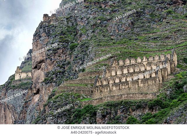 Pinkuylluna, Inca storehouses near Ollantaytambo. Cusco, Peru