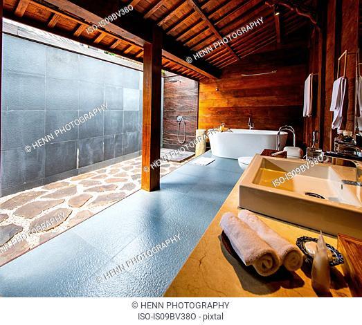 Open air bathroom at resort, Ubud, Bali, Indonesia