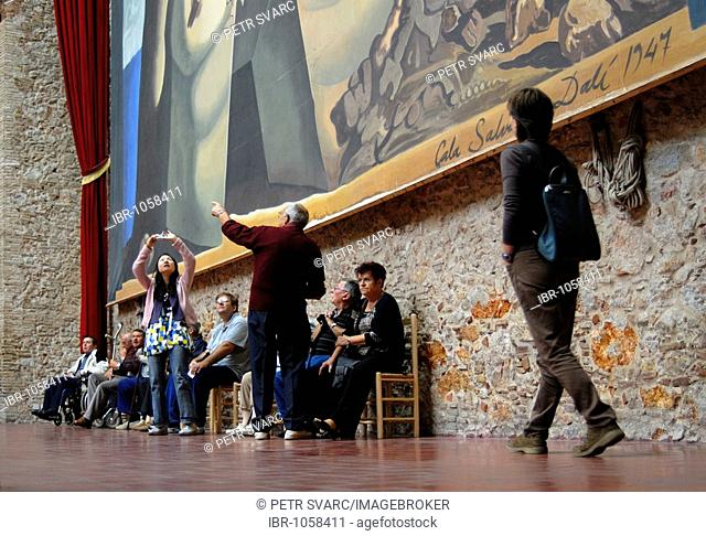 Visitors in front of the Labyrinth Panorama at the Dali Museum, Teatre-Museu Dalí in Figueres, Catalonia, Spain, Europe