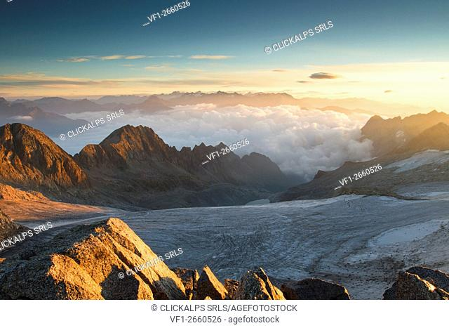 Sunrise from Venerocolo peak, seeing the Pisgana glacier, Lombardy