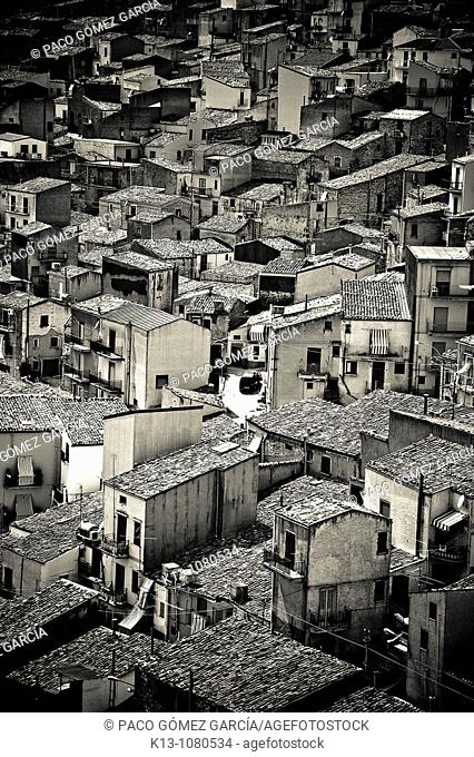 View of the Prizzi village Sicily Italy