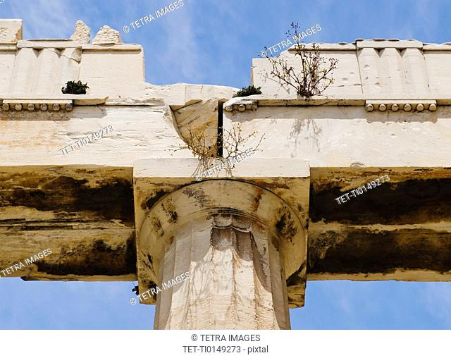 Greece, Athens, Acropolis, Doric column of Propylaea