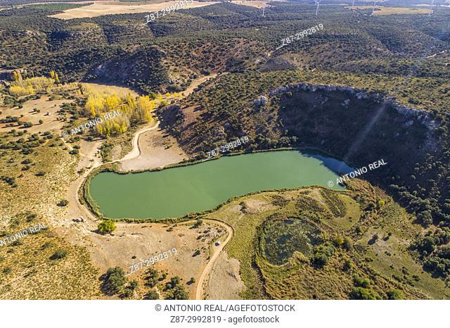 Monumento Natural Laguna del Arquillo, aerial view. Sierra de Alcaraz. Masegoso. Albacete Province. Spain