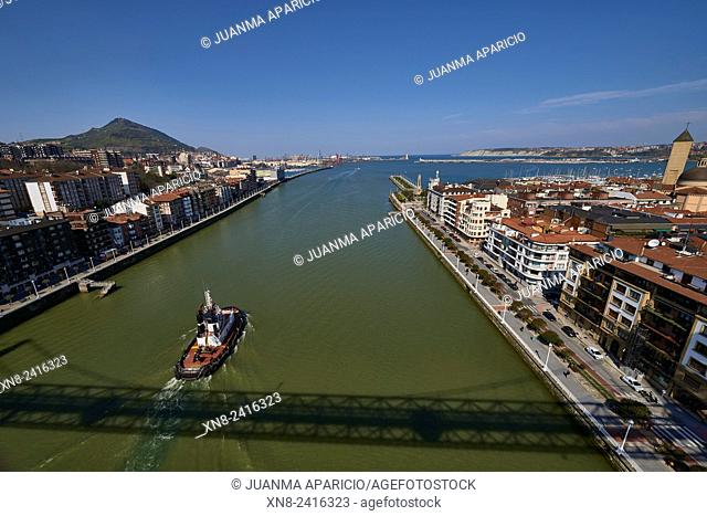 View from above of the Nervion River from the Puente de Bizcaya (Transporter Bridge), Portugalete, Biscay, Basque Country, Euskadi, Spain, Europe