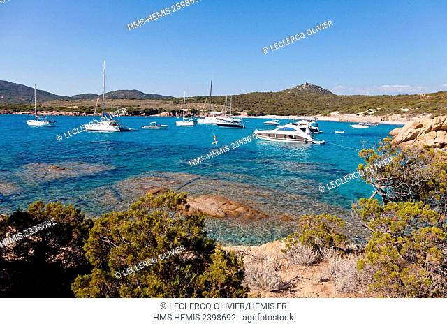 France, Corse du Sud, Sartenais region, Tizzano, boats moored in the clear waters of the coast near the lighthouse Sennetose