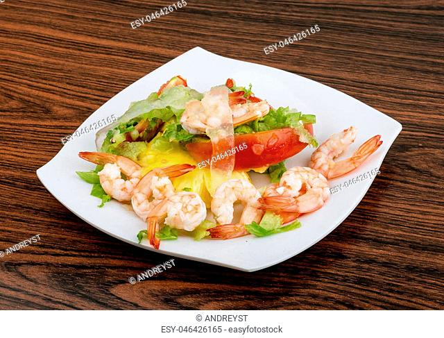 Asian kitchen - Shrimps with aloe vera salad