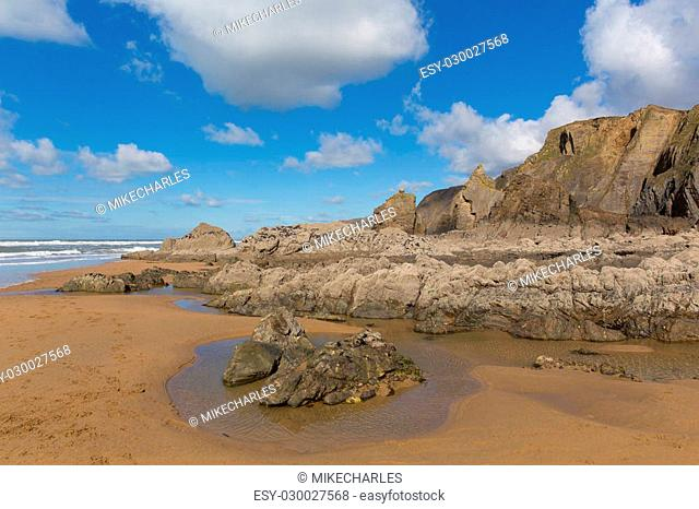 Sandymouth beach North Cornwall England UK with unusual beautiful rock formations near Bude